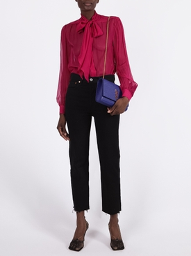 Hot pink silk sheer blouse