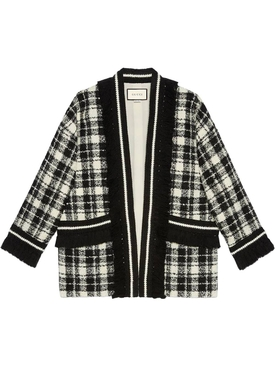 Tweed Long Sleeve Coat, Black & Cream Check