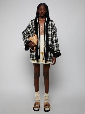 Tweed Long Sleeve Coat, Black & Cream Check
