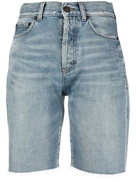 Straight leg denim shorts