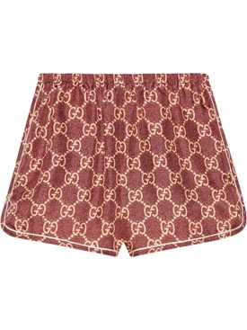 Red GG Supreme Silk Logo Shorts