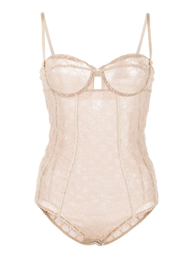 GG Embroidered Tulle Bodysuit IVORY
