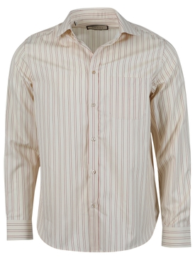 Striped print button-down shirt, beige and red