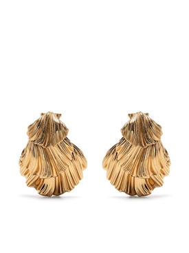gold-tone shell clip-on earrings