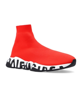 Speed LT Graffiti High-Top Sneaker Red and White