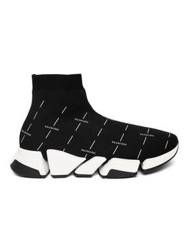 Speed 2.0 Knit Logo Print Sneaker, Black and White