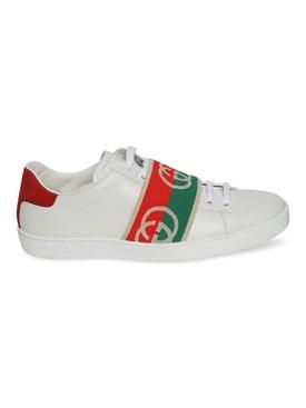 White logo-trim sneaker