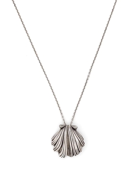 SILVER-TONE SHELL CHARM NECKLACE