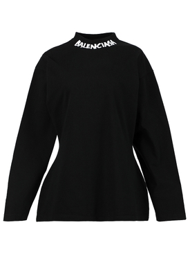 Long-sleeved Curved T-shirt, Black and White