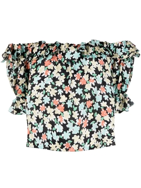 Silk Off-Shoulder Floral Print Blouse