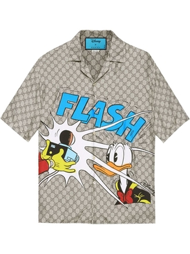 X Disney Donald Duck Logo Print Bowling Shirt