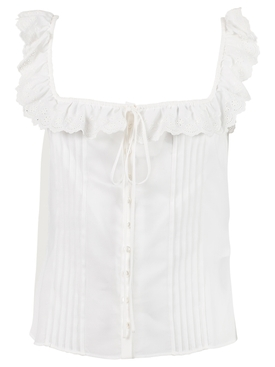 BRODERIE ANGLAISE TANK TOP, WHITE