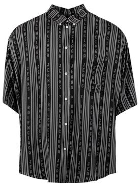 Striped Logo Short-sleeve shirt, black and grey