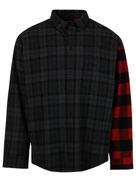 Check-print Patchwork button up shirt, black and red