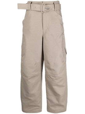 Belted cotton trousers, sand