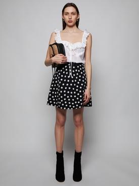 Navy blue and white polka dot skirt