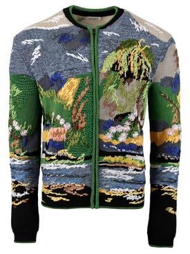 TEDDY JACKET IN TROPICAL EMBROIDERED JACQUARD