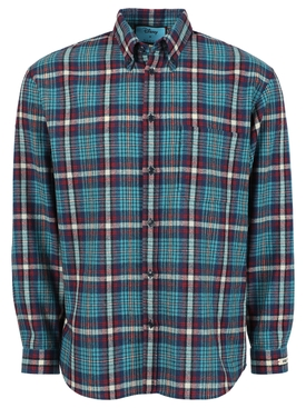 Check Print Button Down Shirt, Cyan Blue and Red