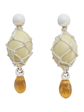 Earrings, yellow citrine ice cream