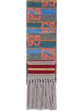 GG Striped Wool Lamé Scarf
