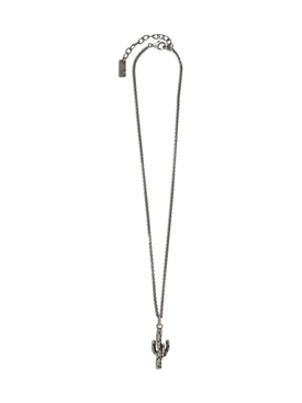 Silver-tone Cactus pendant necklace
