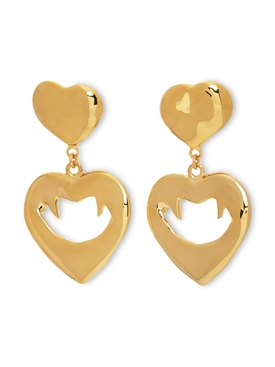 Gold-tone Vampire heart earrings