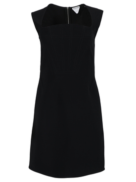 Angled Neckline Mini Dress, Black