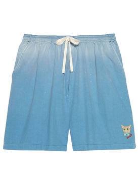 CAT EMBROIDERED GRADIENT SHORTS TURQUOISE