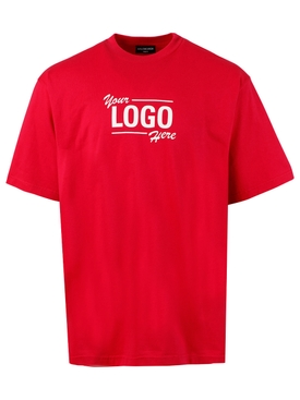 YOUR LOGO HERE T-SHIRT, RASPBERRY RED