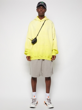 BLEACHED EFFECT HOODIE YELLOW