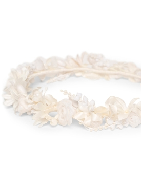 BEADED SILK SMALL FLOWER CROWN, IVORY