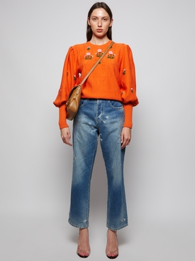 Floral Embroidered Knit Sweater Carrot Orange