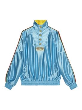 Shiny jersey sweatshirt with web