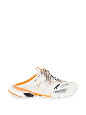 Track mule sneakers white and orange