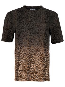 Gradient leopard print t-shirt brown