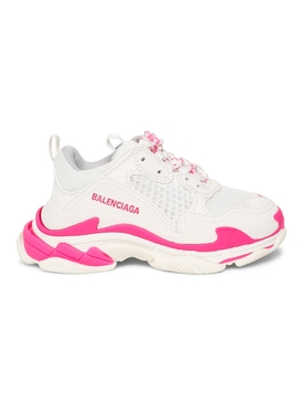 Triple S Kids Sneakers, FLUORESCENT PINK AND WHITE