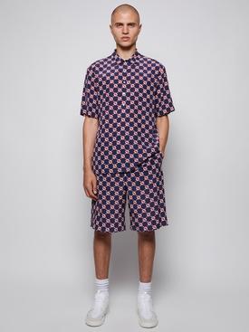 GG Hexagon Silk Crepe Drawstring Shorts Navy