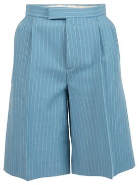 pinstripe knee-length shorts blue pool