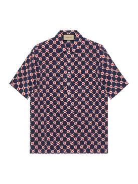 GG Hexagon Silk Crepe Bowling Shirt