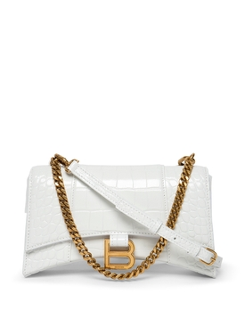 XS Hourglass Top Handle Chain Bag White
