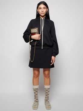 Drawstring Mini Skirt Black
