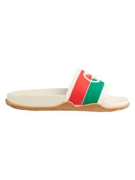 Interlocking G Slide Sandals White