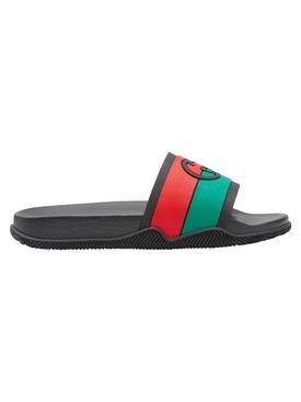 Interlocking G Slide Sandals Black