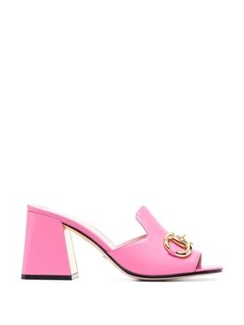 Horsebit Side Sandal Pink Tropical Flower