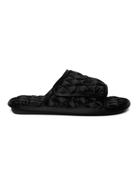 QUILTED SATIN HOME SLIDE, BLACK
