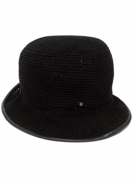 Cable Knit Logo Bucket Hat Black