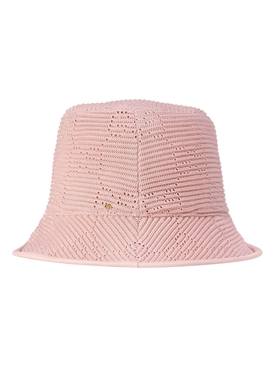 Cable Knit Logo Bucket Hat Pink