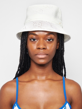 Cable Knit Logo Bucket Hat Ivory