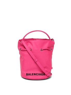 XS Drawstring Wheel Bucket Bag Fluorescent Pink