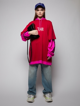 YOUR LOGO HERE HOODED T-SHIRT, RASPBERRY AND WHITE